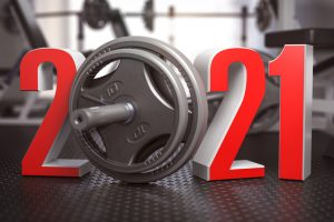 2021 Happy New Year in fitness bodybuilding workout gym. Number 2021 with barbell and oter spoirt equipment. 3d illustration
